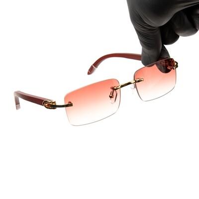 Rimless Gold Frame Burgundy Tint Hip Hop Men's Sunglasses