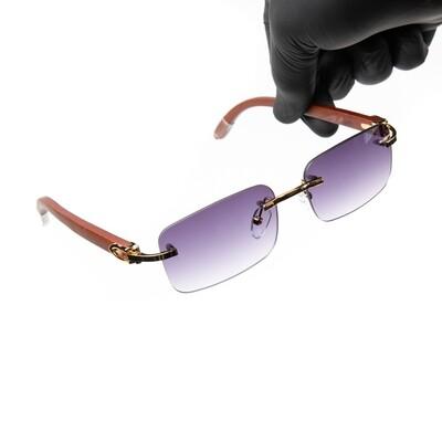 Rimless Gold Frame Purple Tint Hip Hop Men's Sunglasses