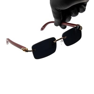 Rimless Gold Frame Black Tint Hip Hop Men's Sunglasses