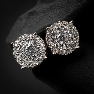 Large Round Sterling Silver Cluster Stud Earrings