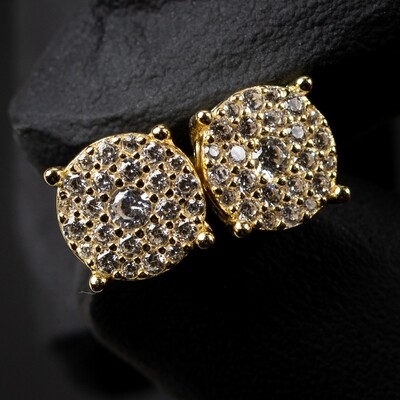 Mens Gold Sterling Silver Round Cluster Stud Earrings