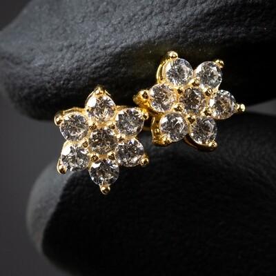 14K Gold Iced Snow Flake Cluster Stud Earrings