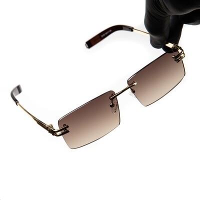 Men's Rimless Gold Frame Brown Tint Hip Hop Sunglasses