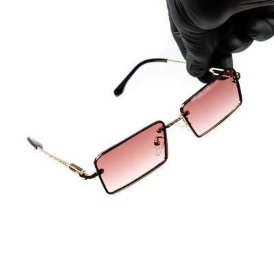 Rimless Burgundy Tint Gold Frame Hip Hop Men's Sunglasses