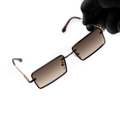 Rimless Brown Tint Gold Frame Hip Hop Men's Sunglasses