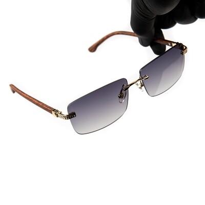 Mens Rimless Purple Tint Iced Wood Sunglasses