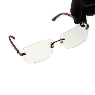 Woodgrain Rimless Iced Cz Hip Hop Clear Tint Glasses