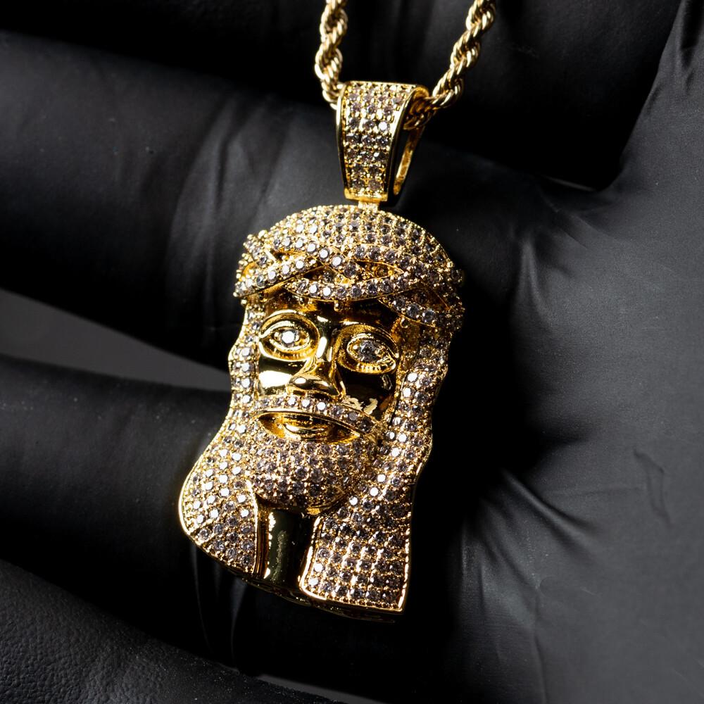 Gold Iced Mini Jesus Piece Pendant Necklace