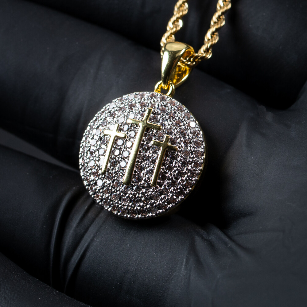 Mens Two Tone Gold Round Three Cross Pendant Necklace