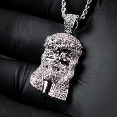 White Gold Iced Mini Jesus Piece Pendant Necklace