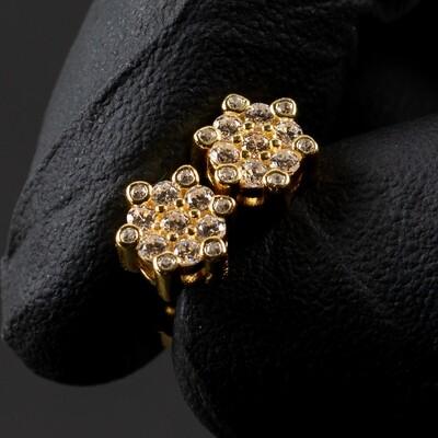 Men's 14K Gold Iced Snow Flake Cluster Stud Earrings