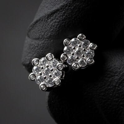Men's Iced Snow Flake Sterling Silver Cluster Earrings