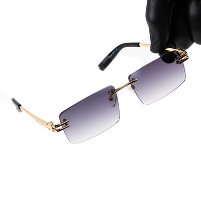 Mens Gold Purple Tint Rimless Hip Hop Sunglasses