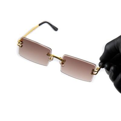 Mens Gold Frame Brown Tint Rimless Sunglasses