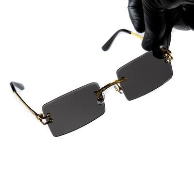 Mens Black Tint Gold Frame Rimless Sunglasses