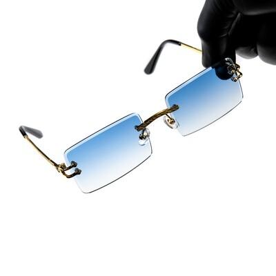 Mens Sky Blue Tint Gold Frame Rimless Sunglasses