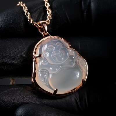 Rose Gold Iced Cz Clear Jade Buddha Pendant Necklace