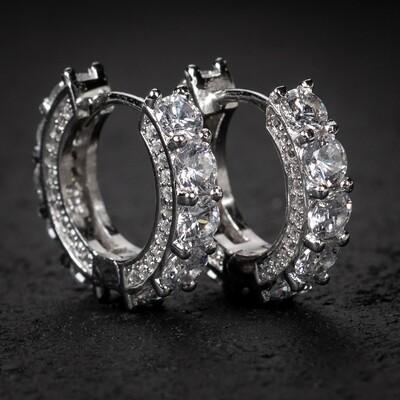 Big Stone Fully Iced CZ Sterling Silver Hoop Earrings