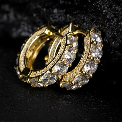 Fully Iced Yellow Gold Sterling Silver Hoop Earrings