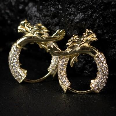Men's Iced Gold Sterling Silver Dragon Hoop Earrings