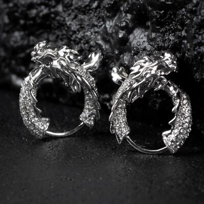 Men's Iced White Gold Sterling Silver Dragon Hoop Earrings