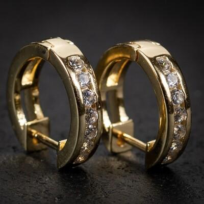 Men's Small Gold Vermeil Iced One Row Hoop Earrings
