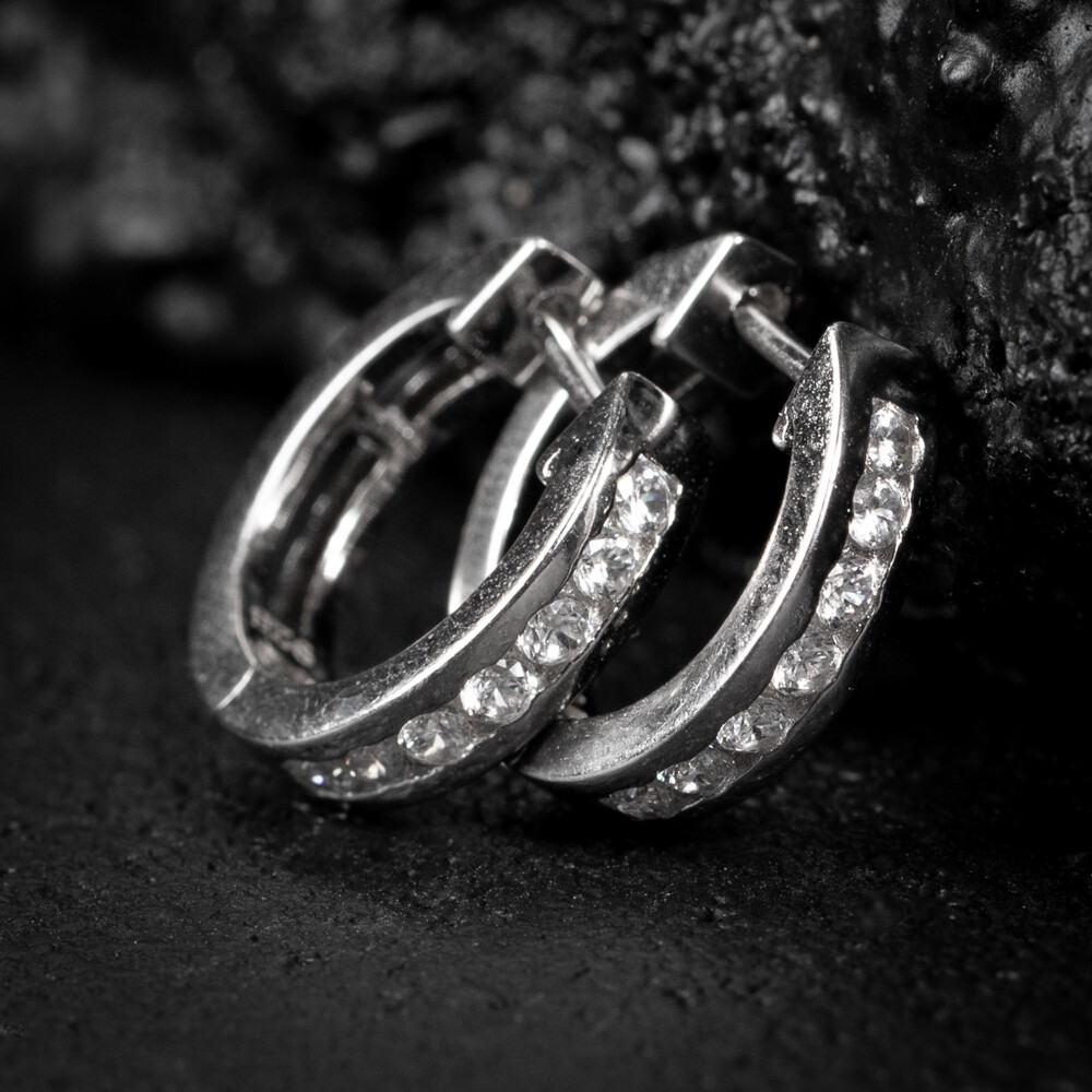 Men's Small Sterling Silver Iced One Row Hoop Earrings