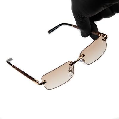 Mens Gold Frame Tan Tint Rimless Woodgrain Sunglasses