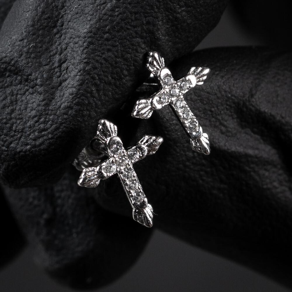 Men's Small Sterling Silver Iced Cross Stud Earrings