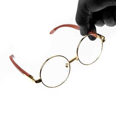 Men's Round Gold Frame Clear Lens Woodgrain Glasses