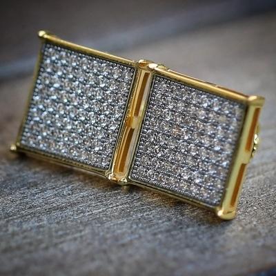 Men's Women's Large Square Flat Screen Gold Earrings