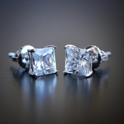 Mens Princess Cut Solitaire Diamond Princess Cut Stud Earrings