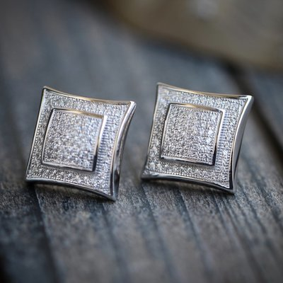 Mens Solid Sterling Silver Large Square Earrings