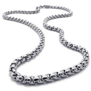 White Gold Plated Pearl Box Chain 22,24,26 & 30 Inches