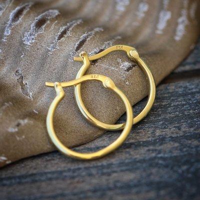 14k Gold Plated Silver Men's Hoop Earrings