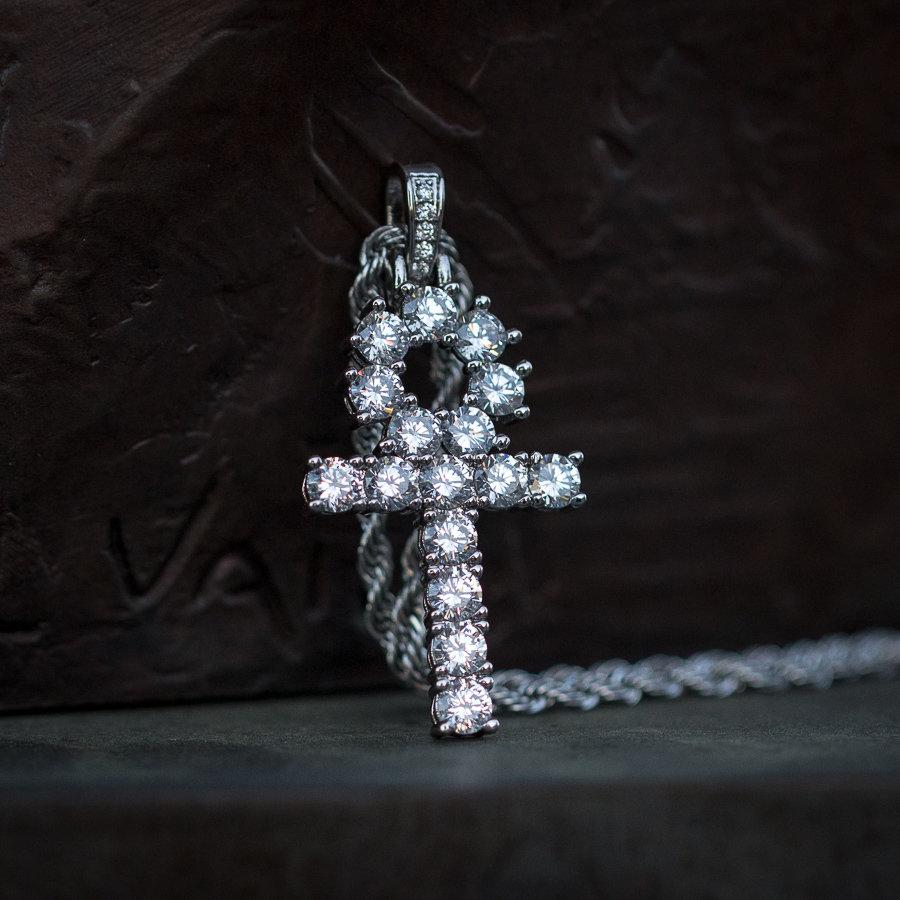 Iced White Gold Diamond Ankh Necklace