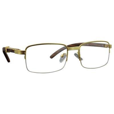Retro Vintage Wood Frame Clear Lens Gold Glasses