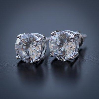 Men's Round Shape Diamond Stud Earrings