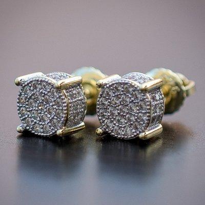 Men's Round Gold 4 Prong Diamond Stud Earrings
