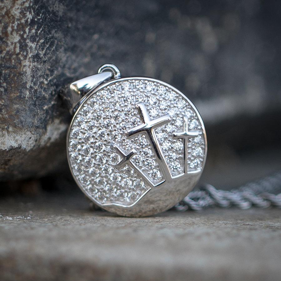 Mini Silver Three Cross Pendant Necklace