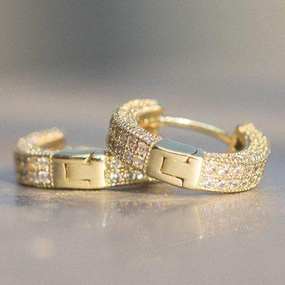 Mens Small Gold Cz Hoop Earrings