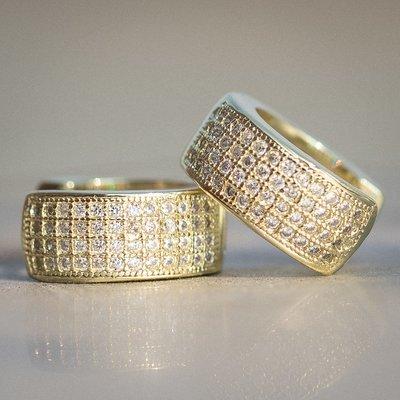 Men's Yellow Gold Four Row Diamond Hoop Earrings