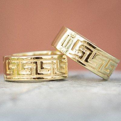 Gold Solid Greek Hoop Earrings