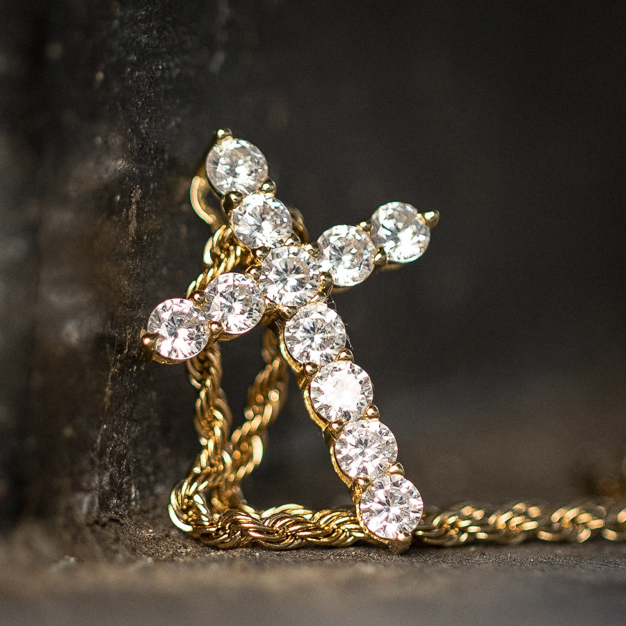 14k Gold Diamond Micro Cross Necklace