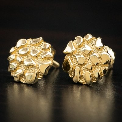 Men's Gold Round Shaped Nugget Earrings