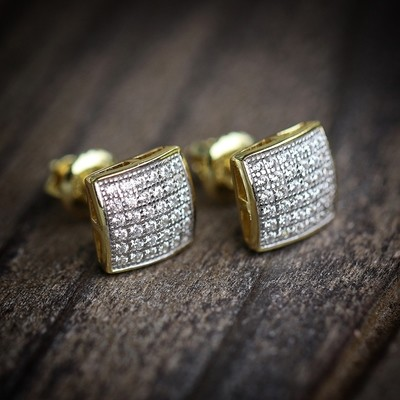 Mens Small Micro Pave Gold Hip Hop Earrings