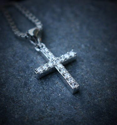 White Gold Plated Hip Hop Cross Chain