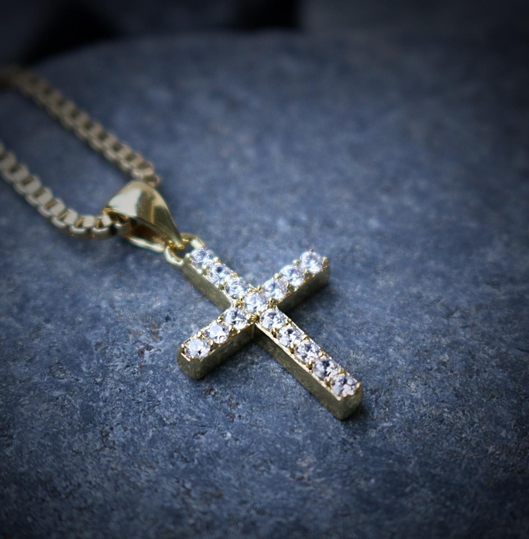 Mini Micro 14K Gold Plated Cross Chain