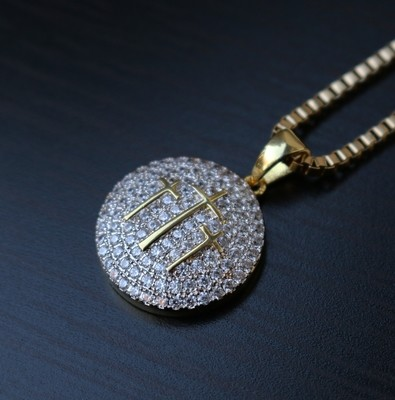 Three Cross Yellow Gold Plated Round Necklace