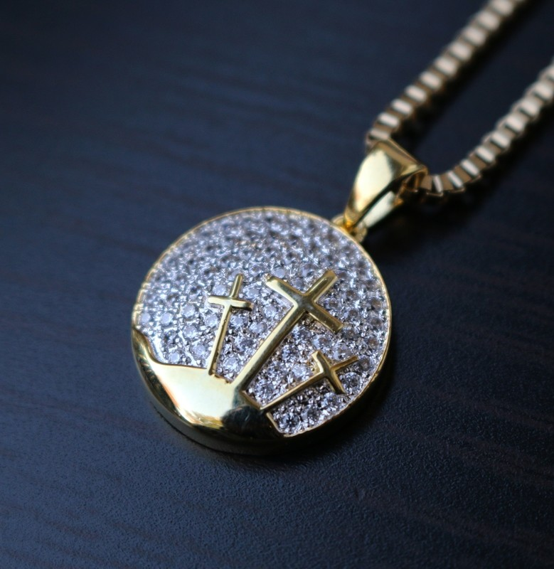 Mini Iced 14k Gold Circle Cross Charm Necklace